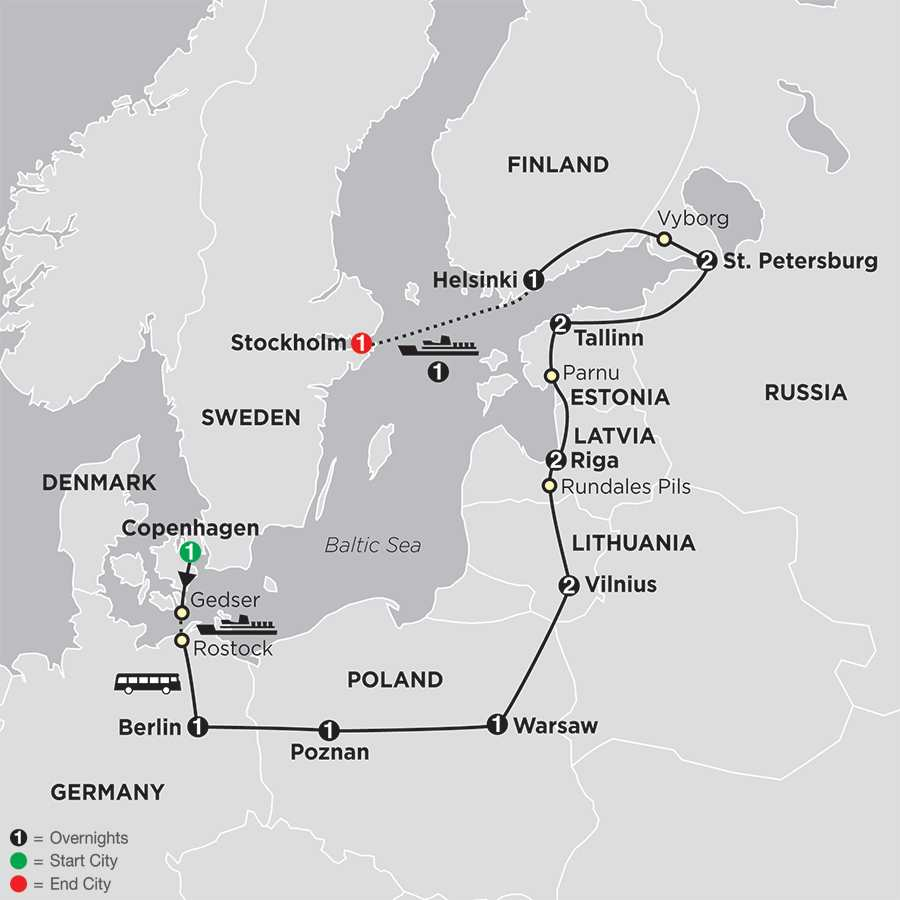 The Baltic States, Russia & Scandinavia map