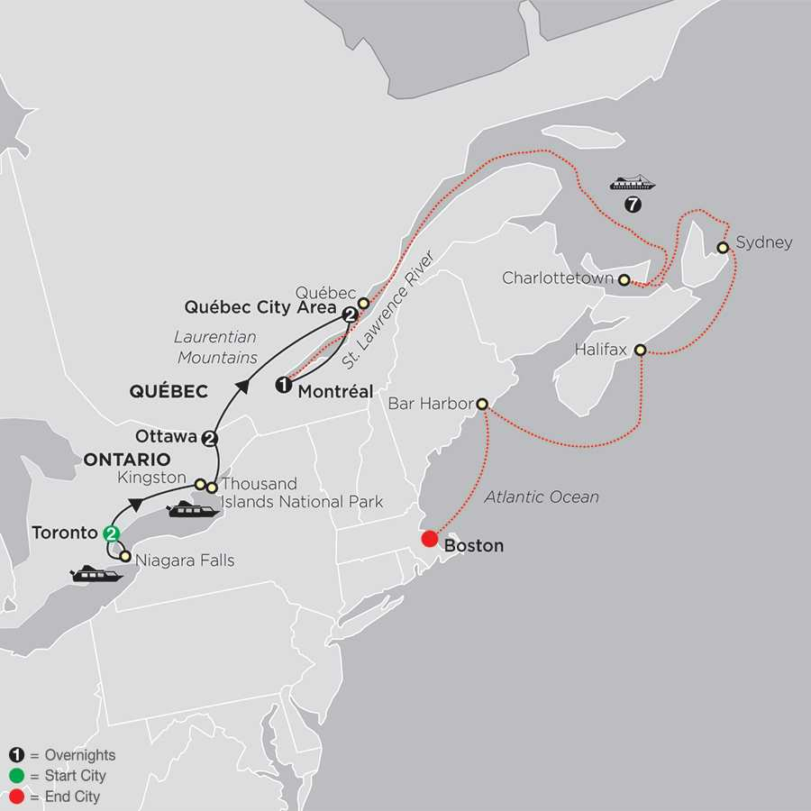 Ontario & French Canada with Canada & New England Cruise map