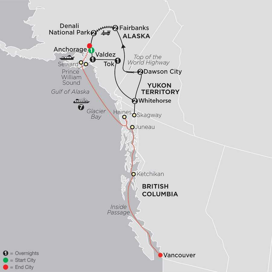 Alaska & the Yukon with Alaska Cruise map