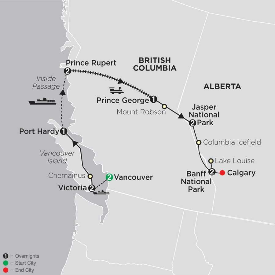 Western Canada with Inside Passage map