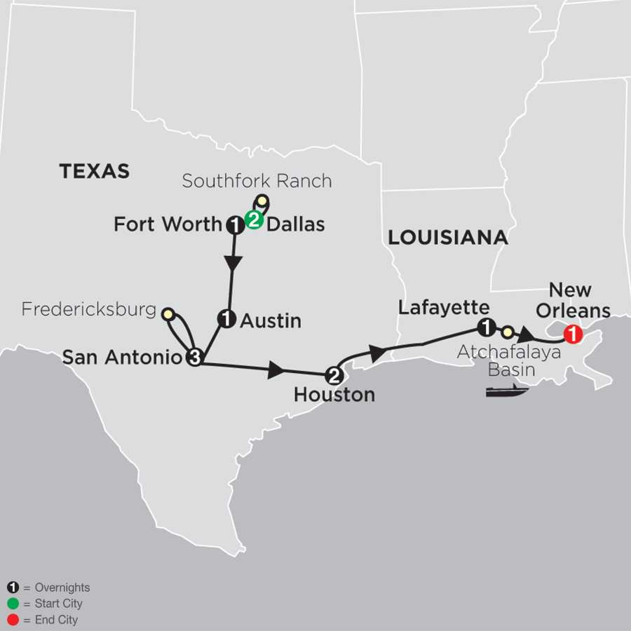 Texas - the Lone Star State with Christmas in San Antonio map