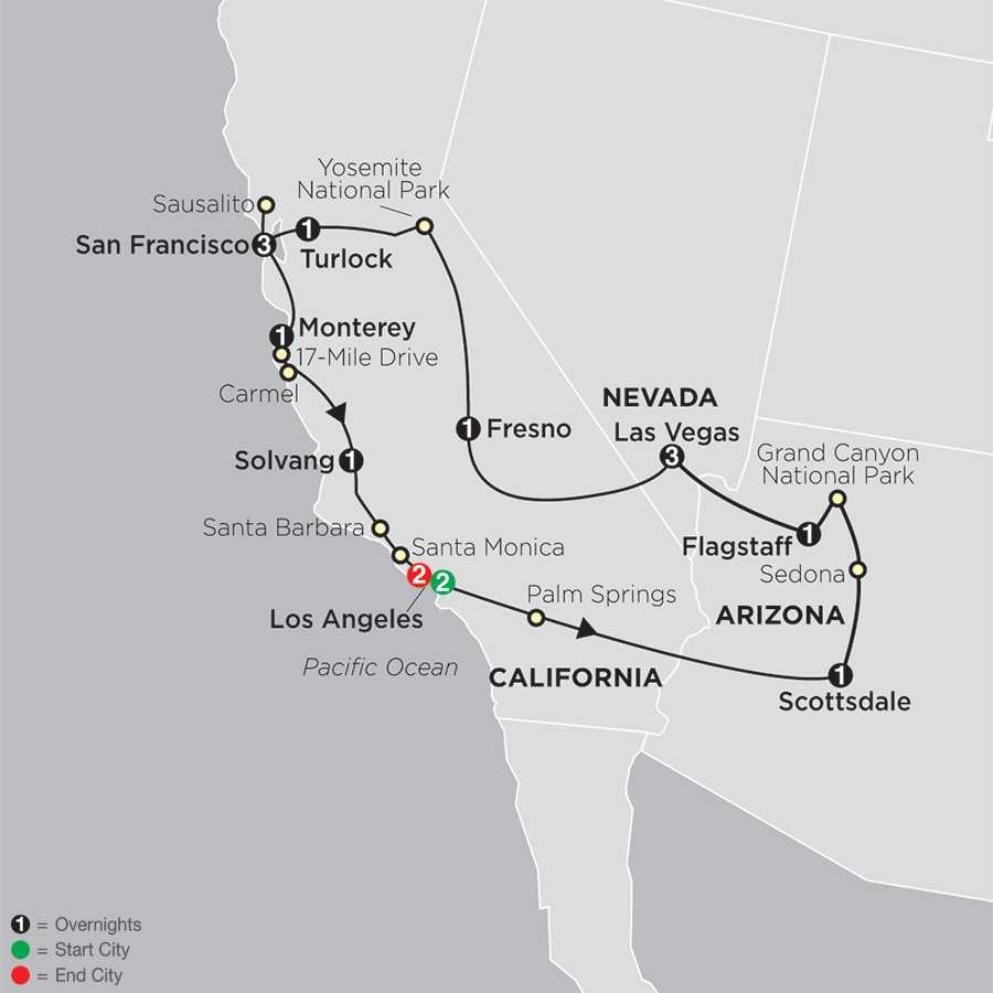 Golden West Adventure with Extended Stay in Los Angeles map