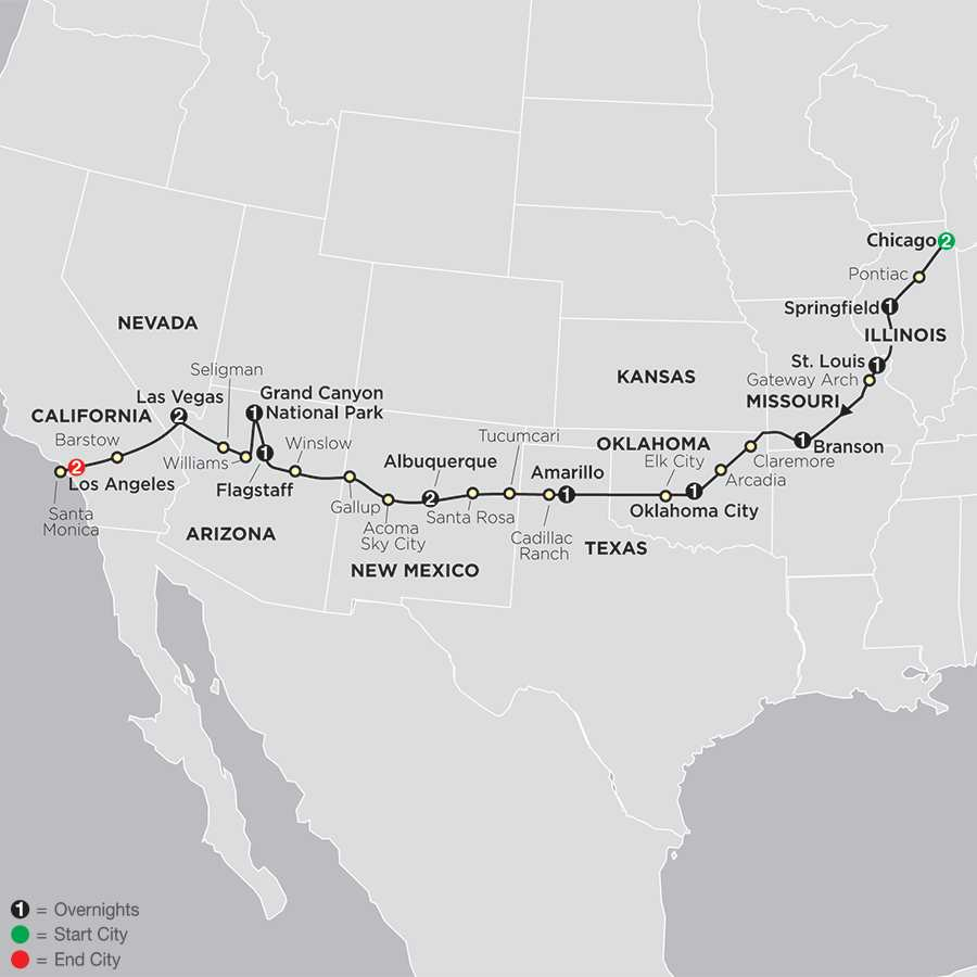 Highlights of Route 66 with International Mother Road Festival map
