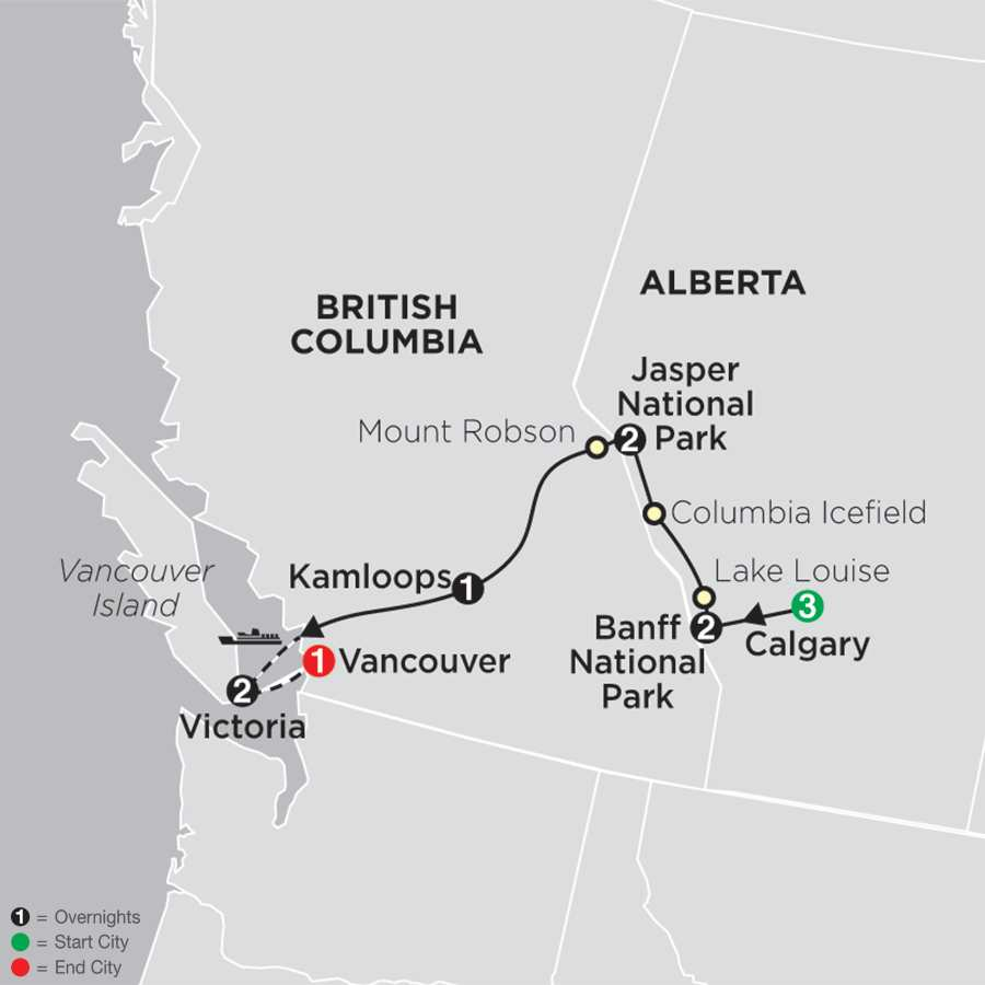 Heart of the Canadian Rockies with Calgary Stampede map