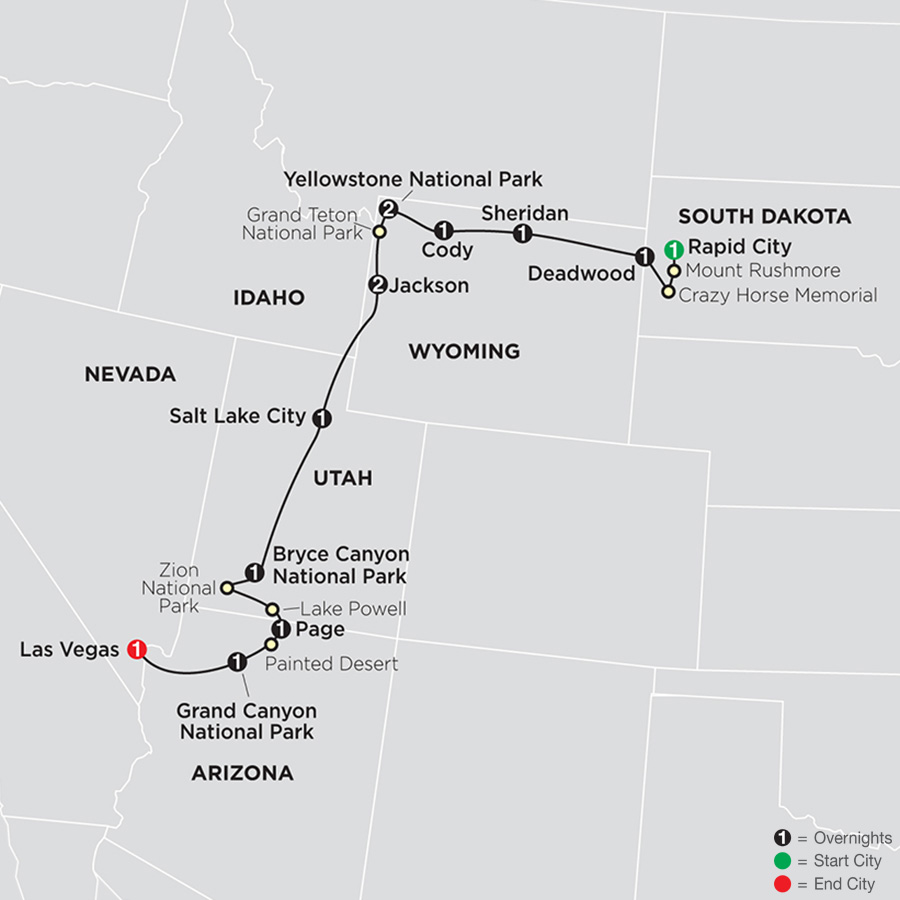 National Parks & Canyon Country with Little Bighorn and Rapid City map