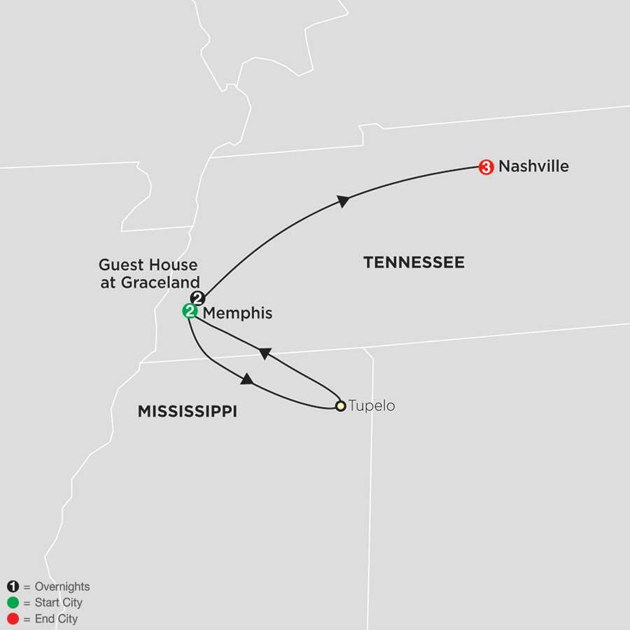 Elvis & the Southern Sounds with 40th Anniversary Memorial Tour map