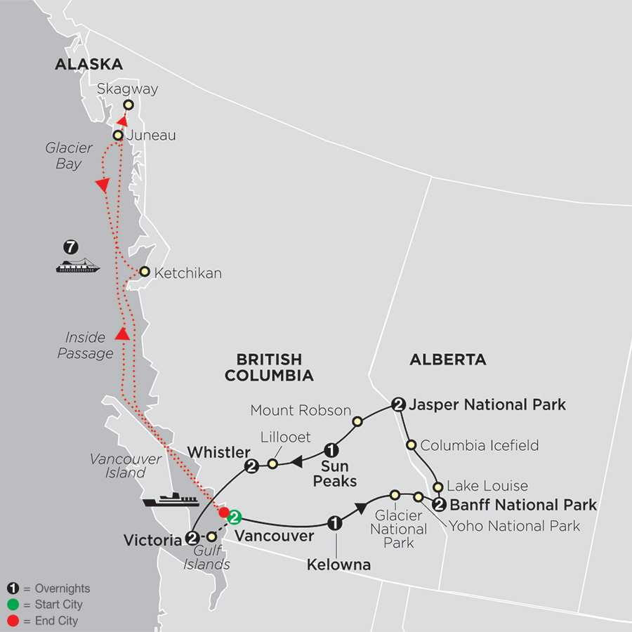 The Canadian Rockies with Alaska Cruise map