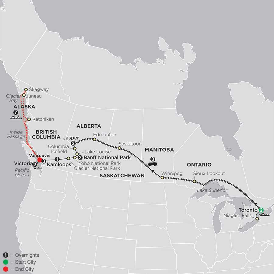 Canadian Train Odyssey with Alaska Cruise map