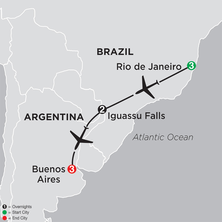 The Best of Brazil & Argentina map