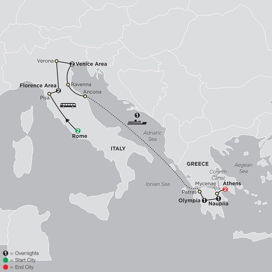 Italy & Greece map