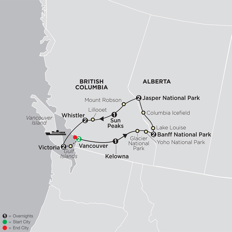 The Canadian Rockies map