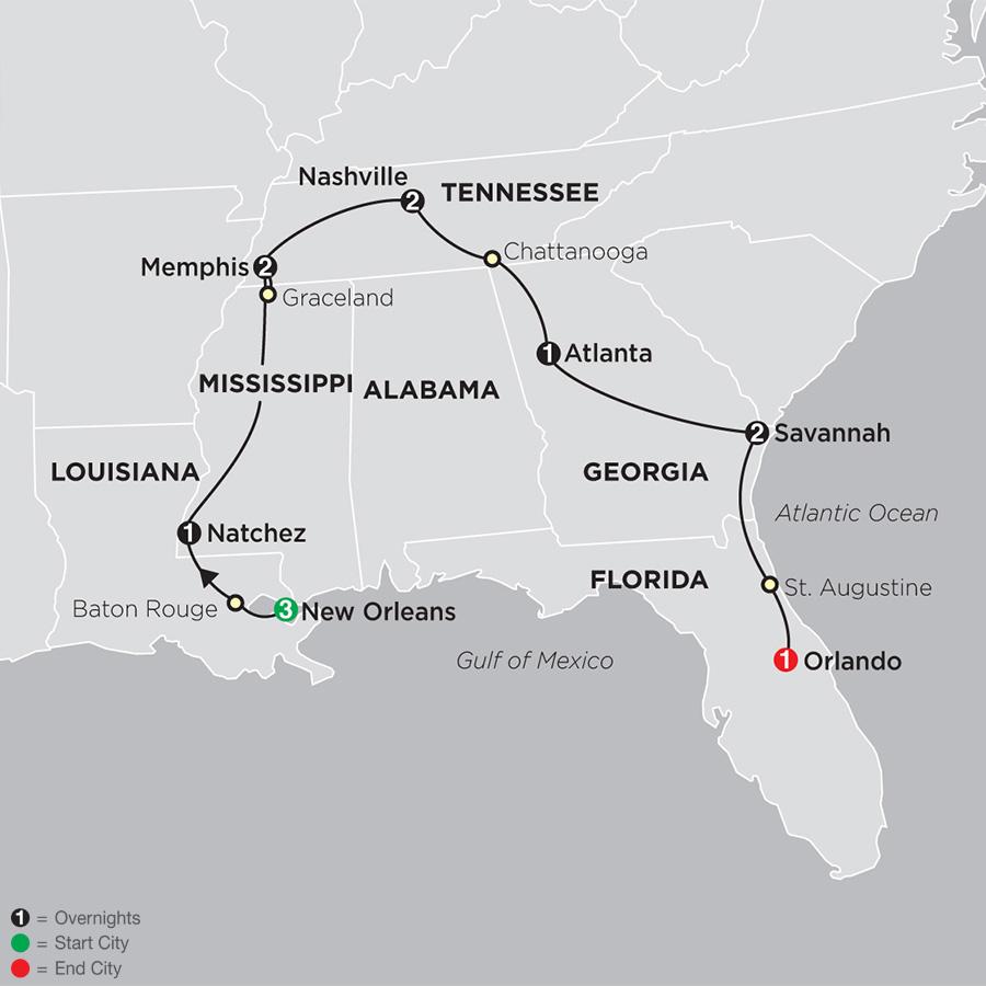Cosmo Mexico Map.Florida Tour Southern U S Tour Cosmos Affordable Tours