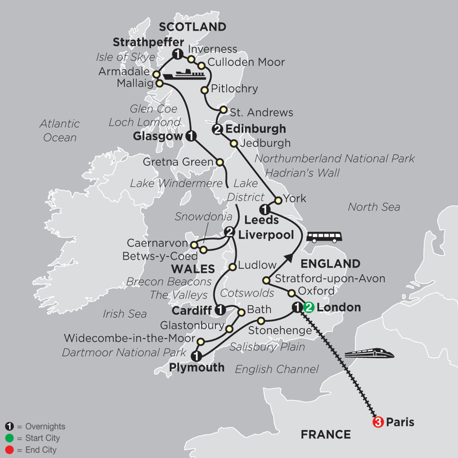 Map Of France And Scotland.France England Wales Scotland Tours Cosmos Tours