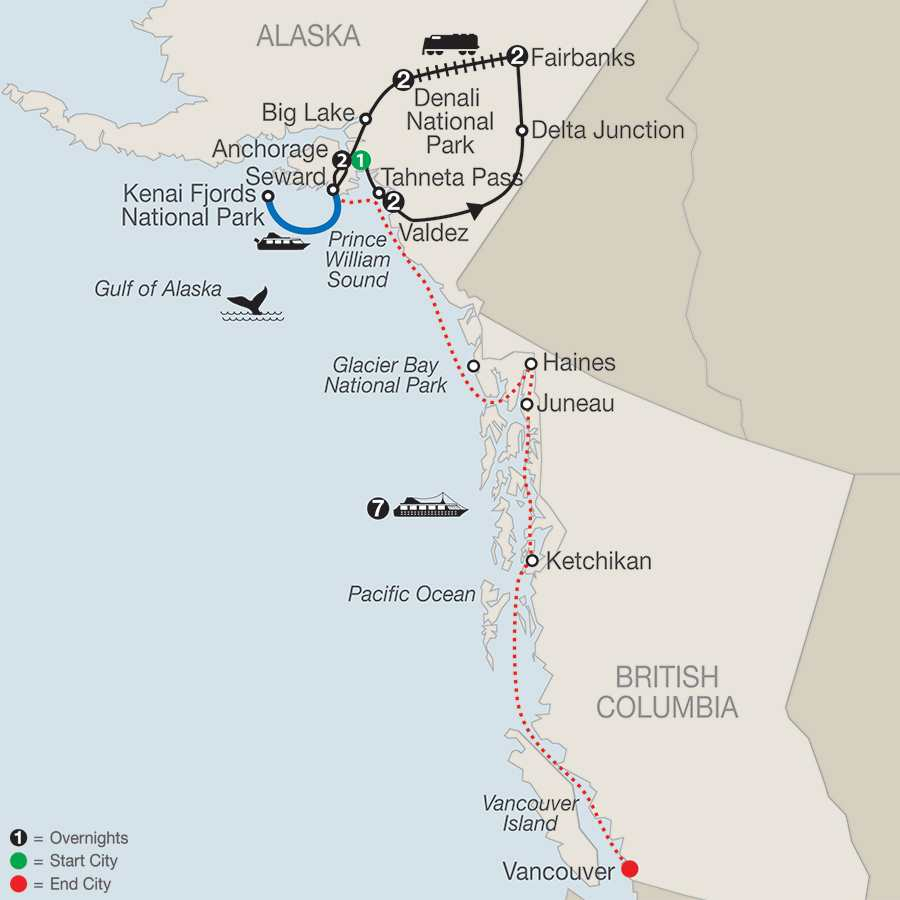 Spectacular Alaska! with Alaska Cruise map
