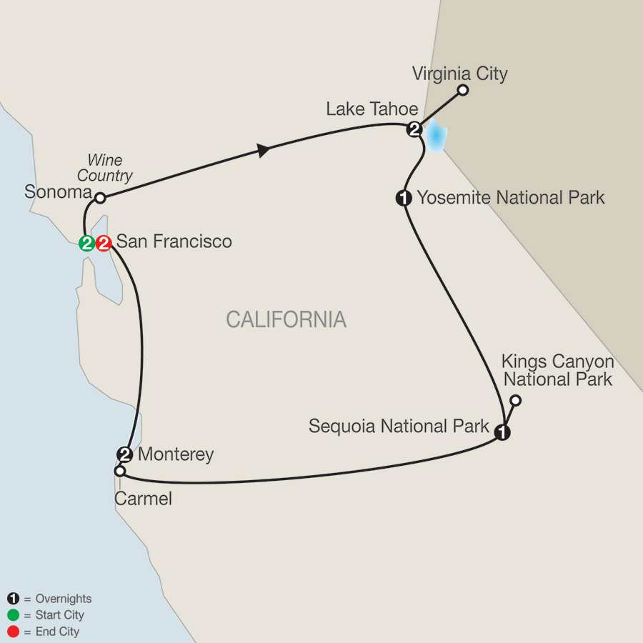 Northern California's Finest with Extended Stay in San Francisco map