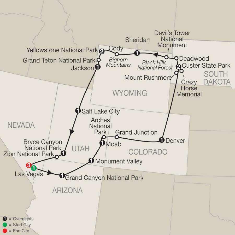 Exploring America's Great Parks with Extended Stay in Las Vegas map