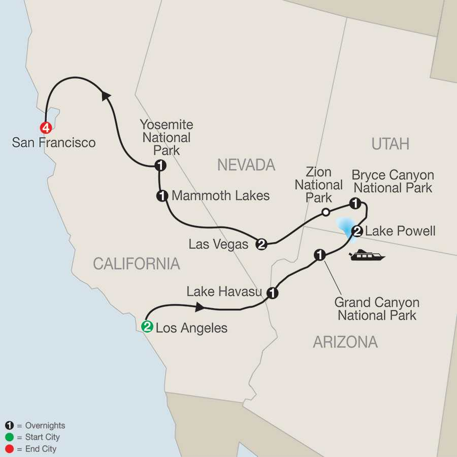Western Explorer with Extended Stay in San Francisco map