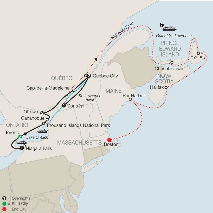 Historic Cities of Eastern Canada with Canada & New England Discovery Cruise map