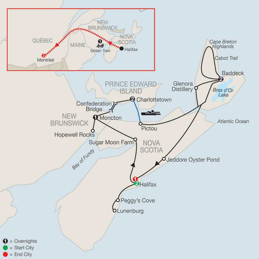 Wonders of the Maritimes & Scenic Cape Breton with Ocean Train to Montreal map
