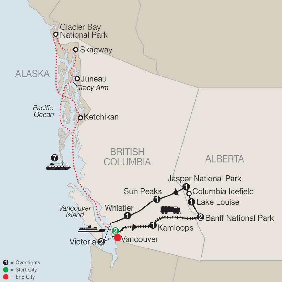 Spirit of the Rockies with Alaska Cruise map