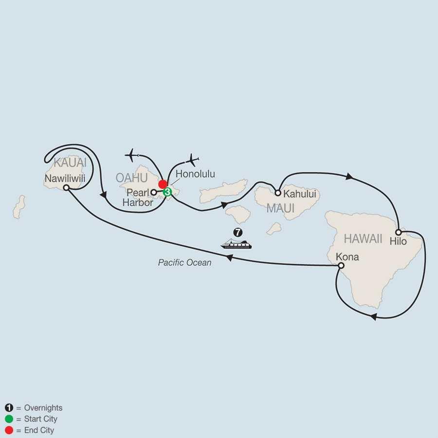 Cruising Hawaii's Paradise with Sheraton Waikiki map