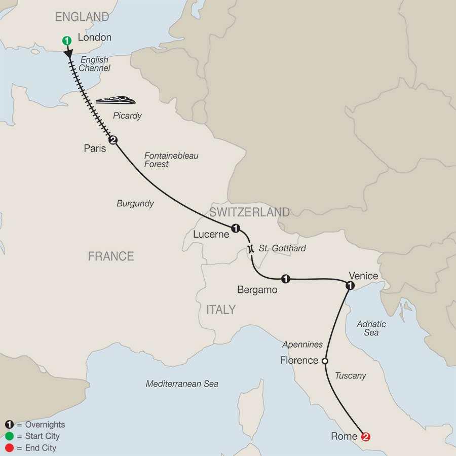European Highlights map