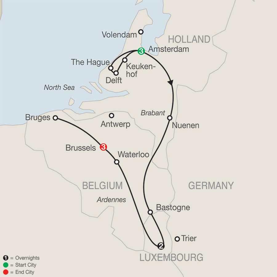 Holland, Luxembourg & Belgium map