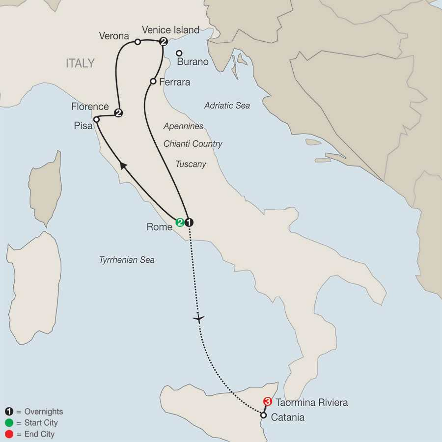 Italy's Great Cities with Taormina Riviera map