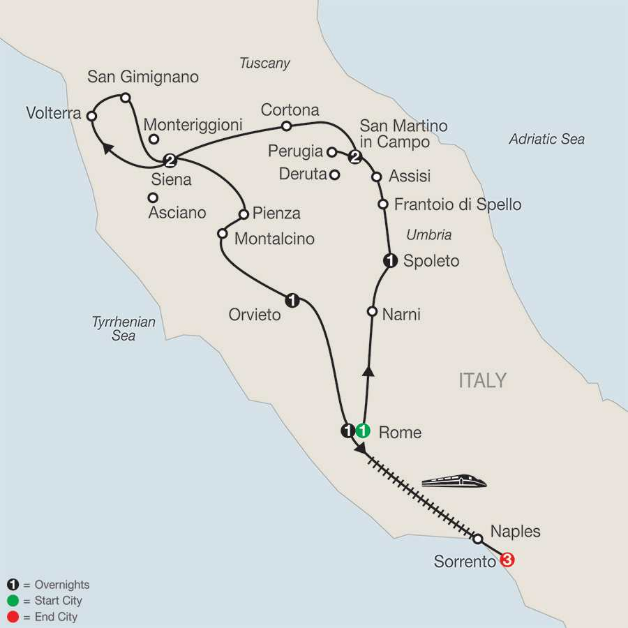 Gems of Umbria & Tuscany with Sorrento map