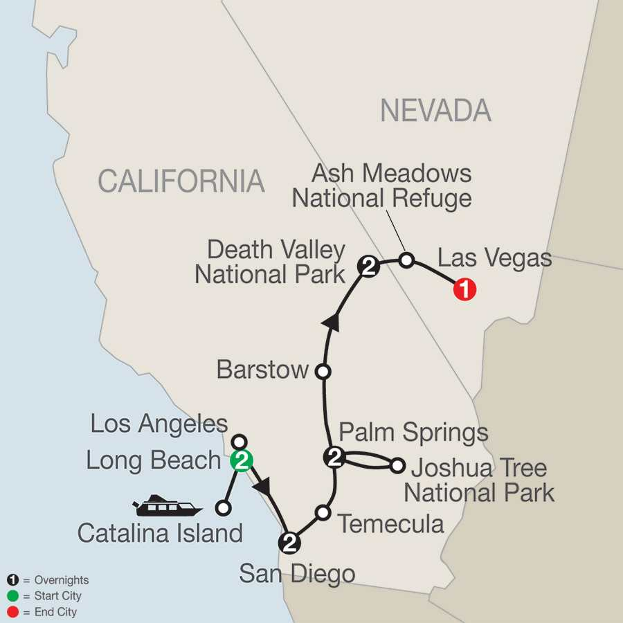 Southern California with Death Valley & Joshua Tree National Parks map