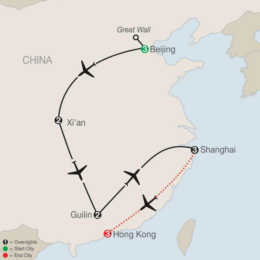 Treasures of China with Hong Kong map