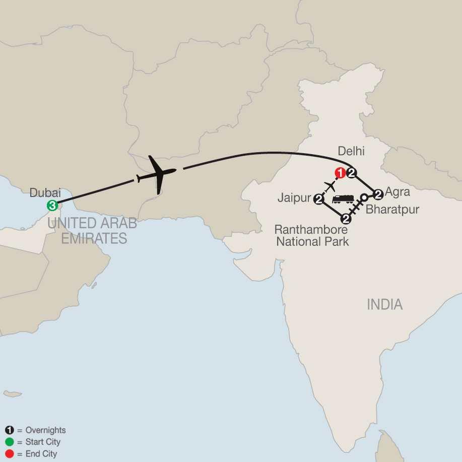 Icons of India: The Taj, Tigers & Beyond with Dubai map