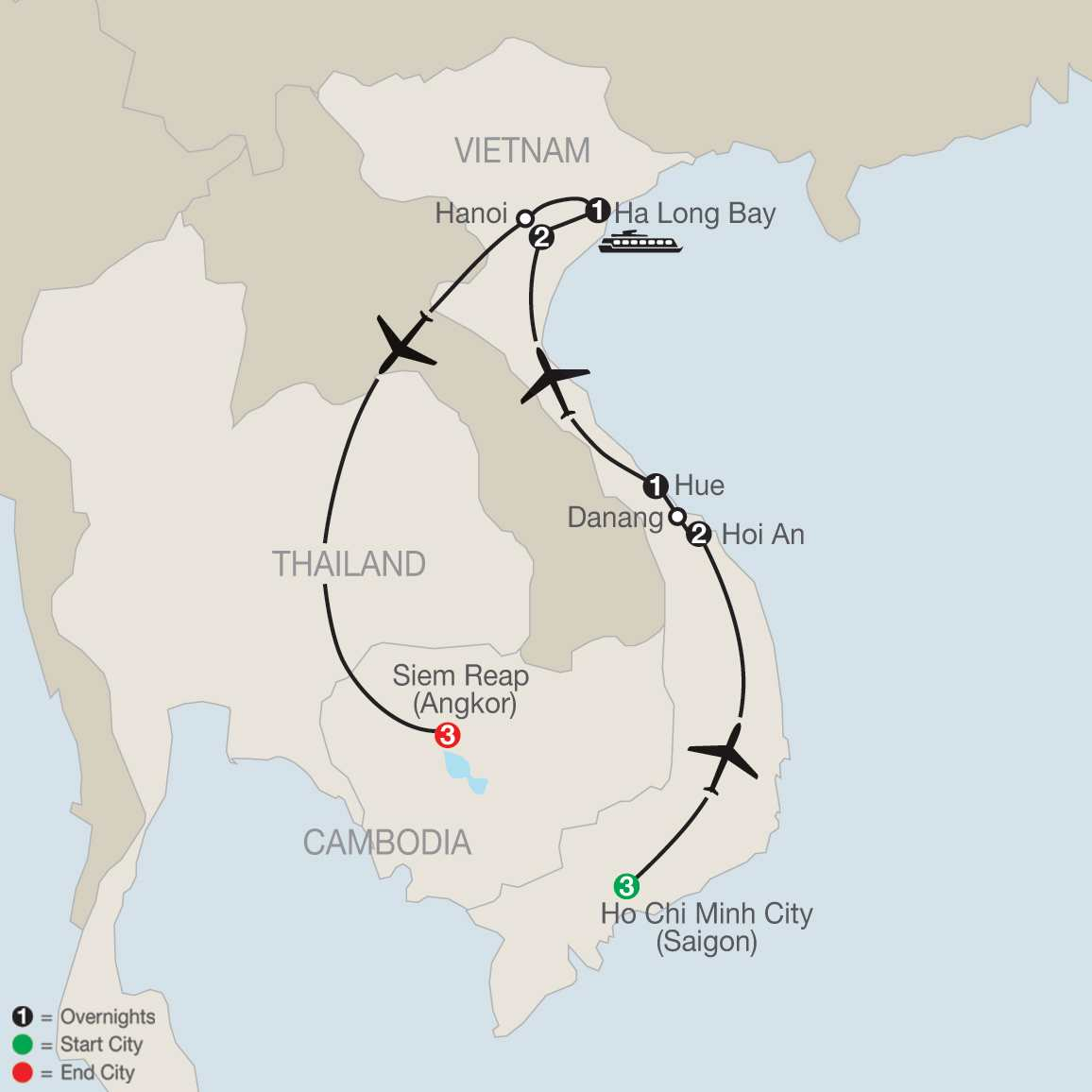Exploring Vietnam & Cambodia map
