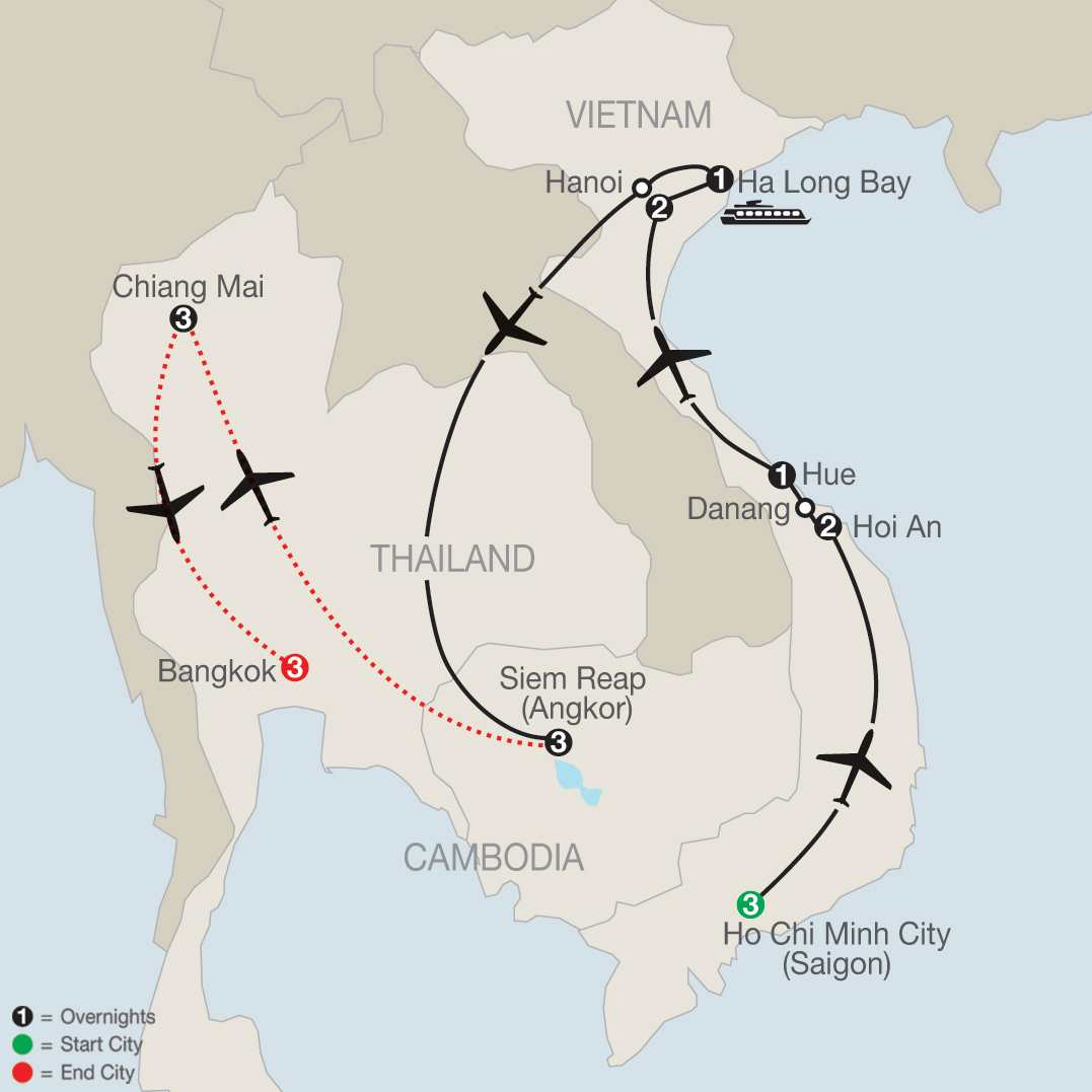 Exploring Vietnam & Cambodia with Chiang Mai & Bangkok map