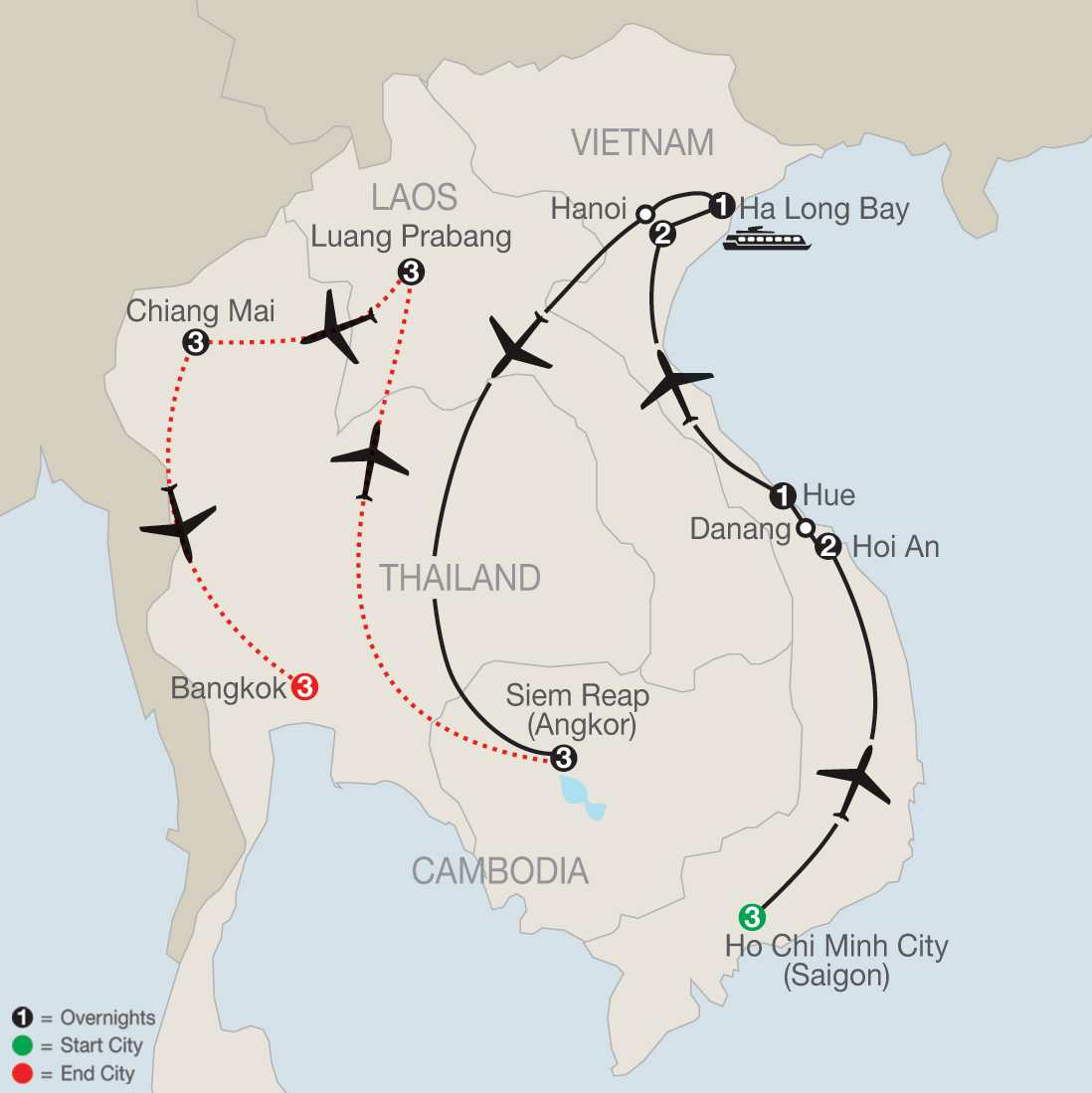 Exploring Vietnam & Cambodia with Luang Prabang, Chiang Mai & Bangkok map