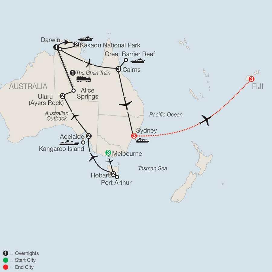 Exploring Australia with Fiji map