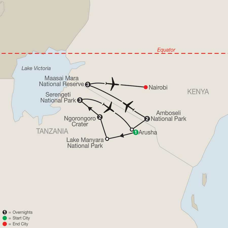 East Africa:  In Search of the Big Five map