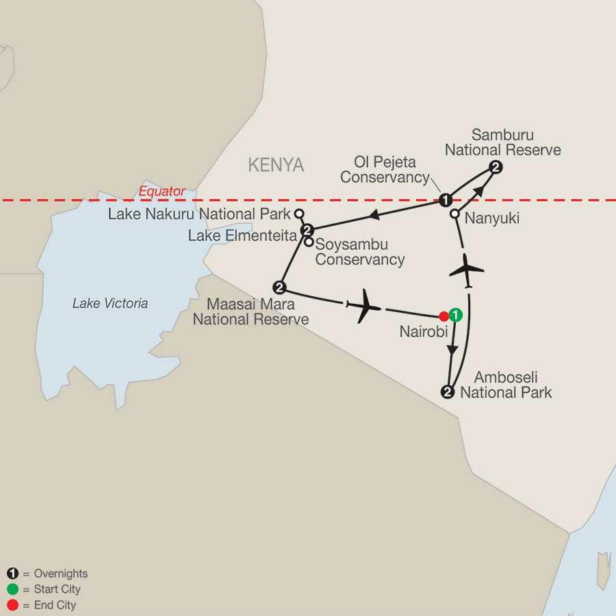 Classic Kenya:  A Tented Camp Safari map