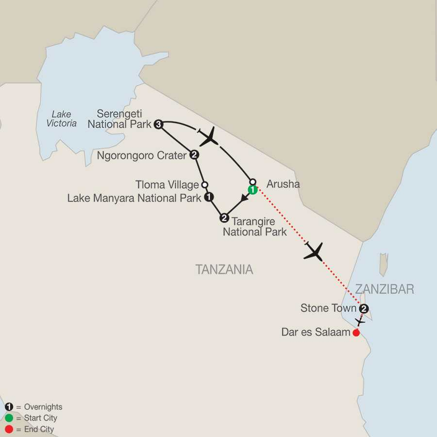 Tanzania: The Serengeti & Beyond with Zanzibar map