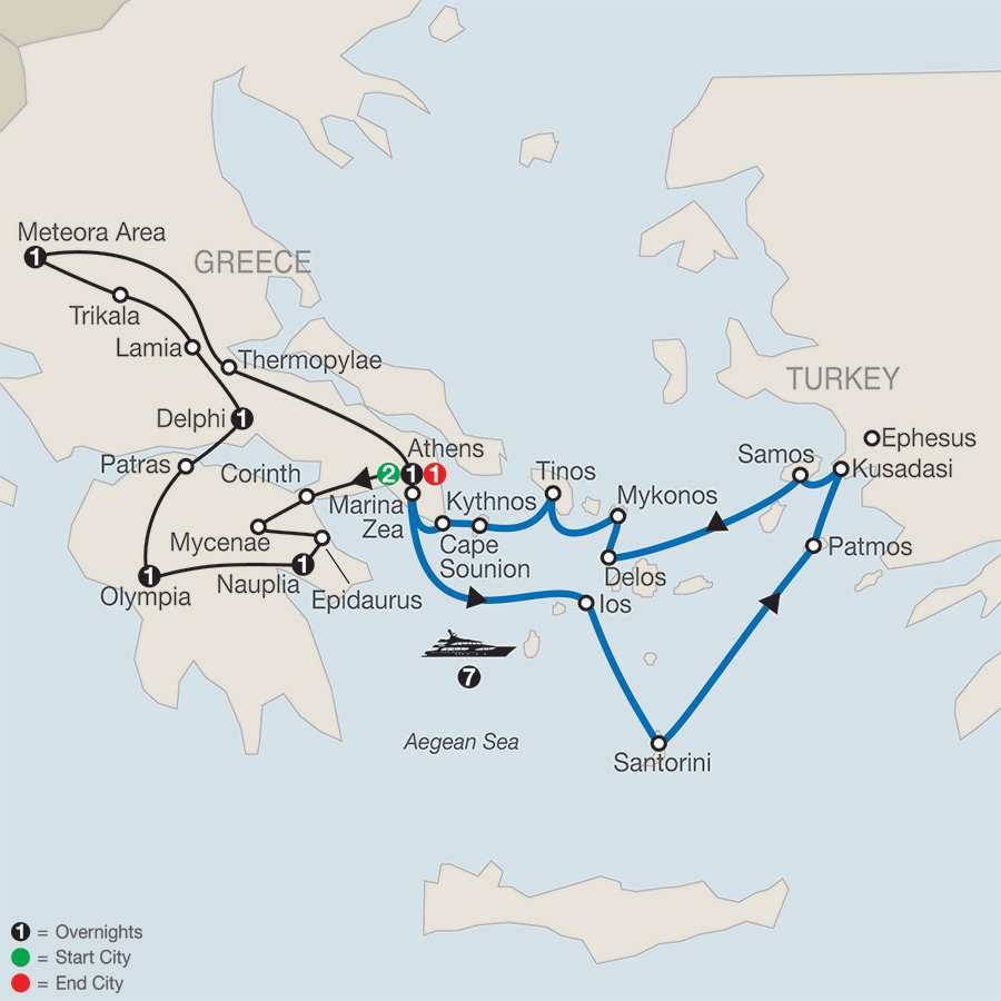 Classical Greece with Aegean Odyssey 7-Night Cruise map