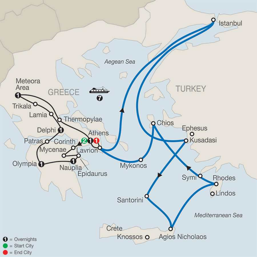 Classical Greece with Iconic Aegean 7-Night Cruise map