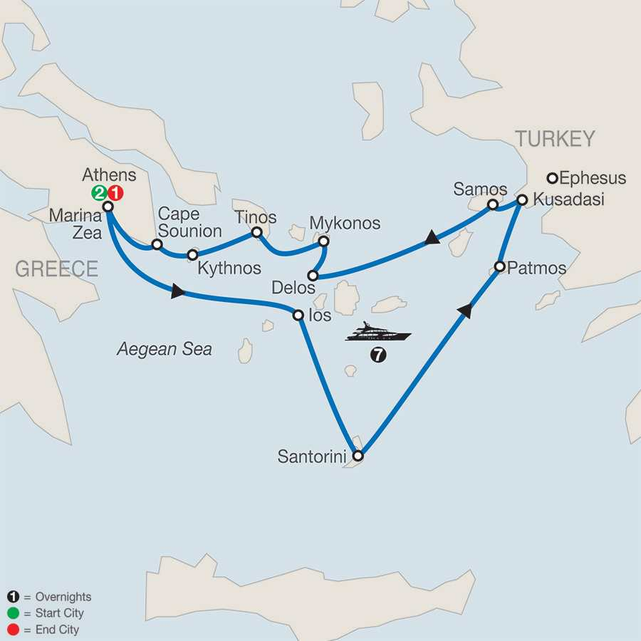 Athens & Aegean Odyssey with 7-Night Cruise map