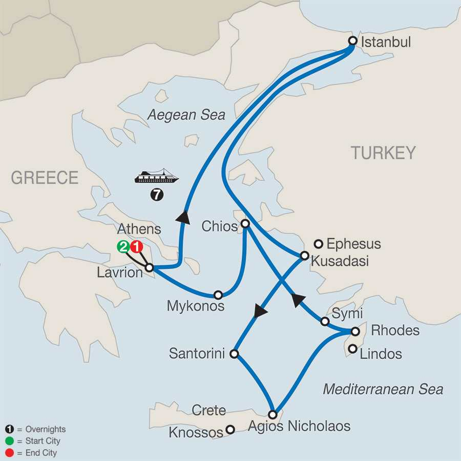 Iconic Aegean with 7-Night Cruise map