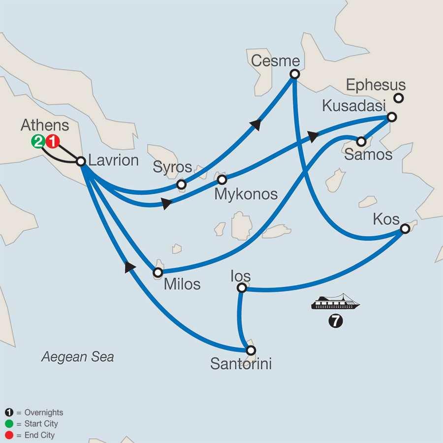 Idyllic Aegean with 7-Night Cruise map