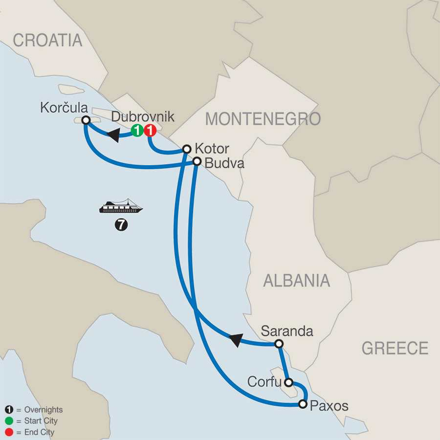 Dubrovnik & Adriatic Odyssey with 7-Night Cruise map