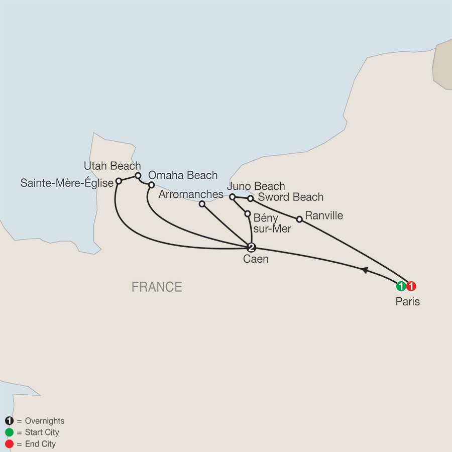 WWII D-Day, Landing Beaches and Battle of Normandy map
