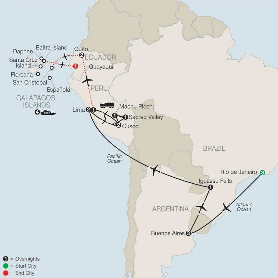 Spirit of South America with Galápagos Cruise map
