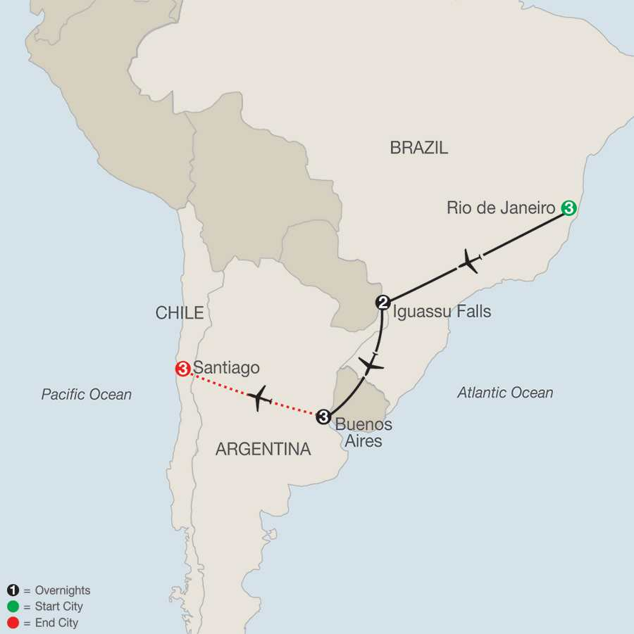 South American Escape with Santiago map