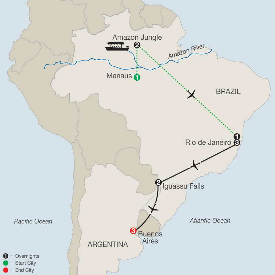 South American Escape with Amazon map