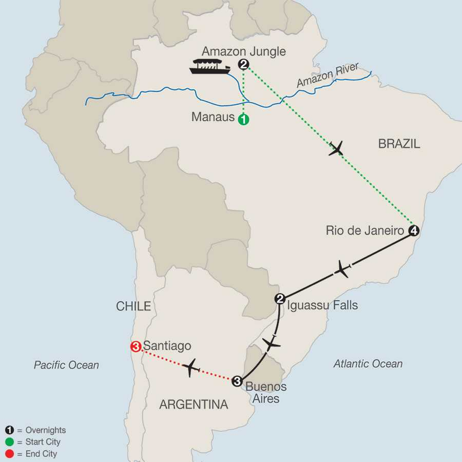 South American Escape with Amazon & Santiago map